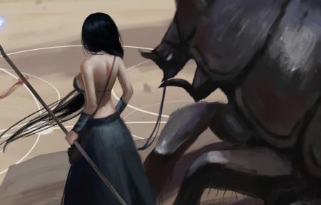 女子 魔杖 巨兽 3440x1440插画超高清壁纸推荐