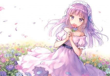 鲜花 可爱少女 紫色眼睛 头发 裙子 4k动漫高端电脑桌面壁纸