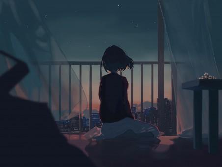少女 女孩子 城市 窗帘 晚上 星星 夜晚风景 4k动漫高端电脑桌面壁纸