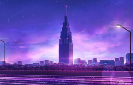城市 夜晚 路灯 公路 天空 星星 流星 唯美风景4k高端电脑桌面壁纸