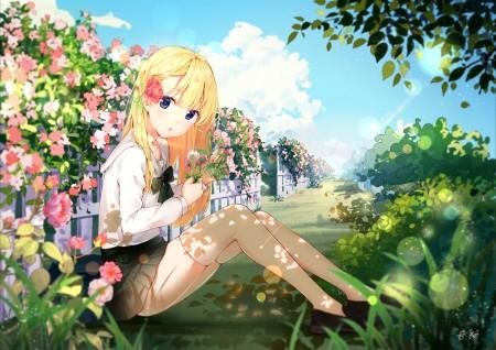 蔷薇少女 制服 蔷薇花 花园 4k动漫高端电脑桌面壁纸