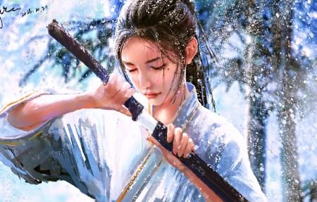 女孩 宝剑 武士 雪 4k动漫高端电脑桌面壁纸