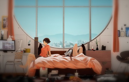 床上 女孩 窗户 书桌 台灯 椅子 4k动漫超高清壁纸推荐3840x2160
