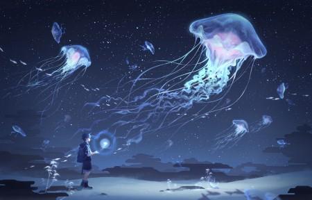 水母 男孩 夜晚 天空 云 星星 鱼 4k动漫高端电脑桌面壁纸
