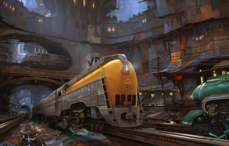 火车 列车 城市 插画 4k动漫超高清壁纸精选