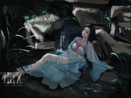 公主 汉服 沐浴 唯美插画 4k动漫超高清壁纸推荐