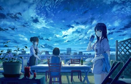 月见 女孩子 星空 流星 餐桌 聚会 4k动漫高端电脑桌面壁纸
