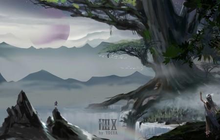 美丽山水风景 女孩背影 大树 河流 瀑布 山 唯美插画4k高端电脑桌面壁纸