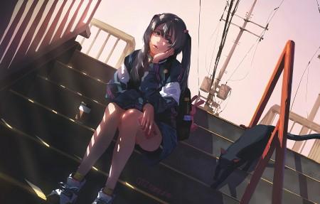 坐在楼梯上女孩子4k动漫壁纸