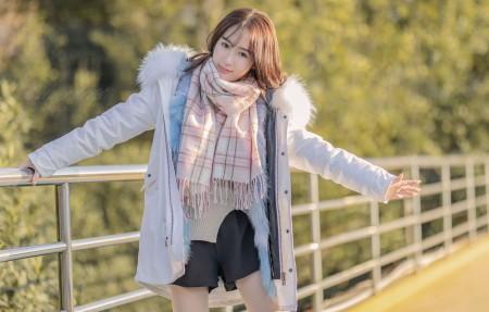 冬天 清纯美女 围巾 4k美女壁纸3840x2160