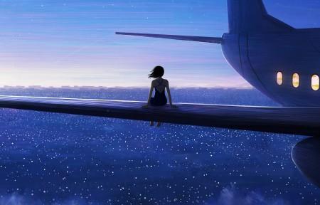 坐在飞机羽翼女孩5120x1440壁纸