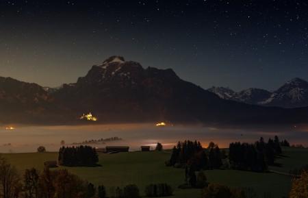 阿尔高 晚上 高山 福尔根湖湖 夜间 雾 5k风景壁纸