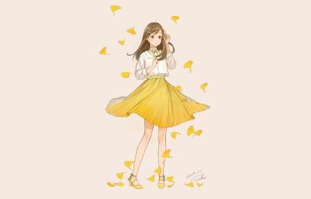 秋天可爱动漫女孩5120x1440壁纸