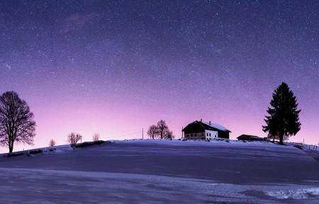 星空 夜色下的瑞士汝拉山5120x1440双屏风景壁纸5K