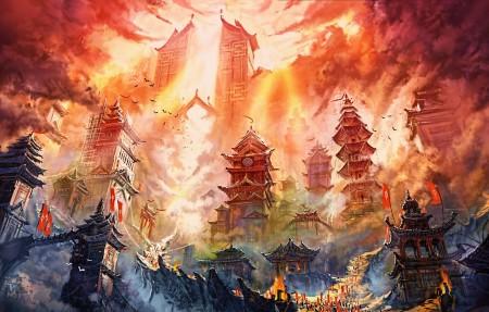 火焰 塔 建筑 艺术绘画4k壁纸 3840x2160