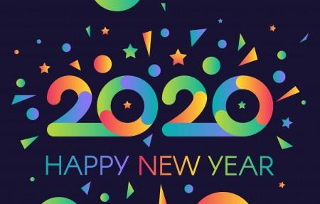 炫彩2020年新年快乐创意海报4k壁纸极品壁纸推荐3840x2160