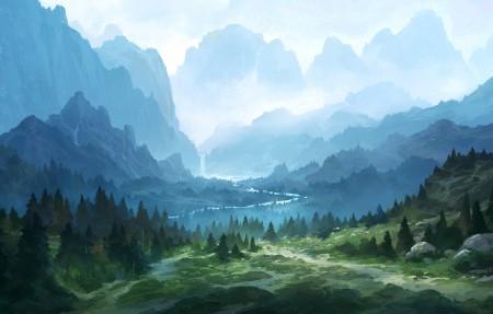 山 瀑布 小路 风景绘画4k高清壁纸极品壁纸推荐3840x2160