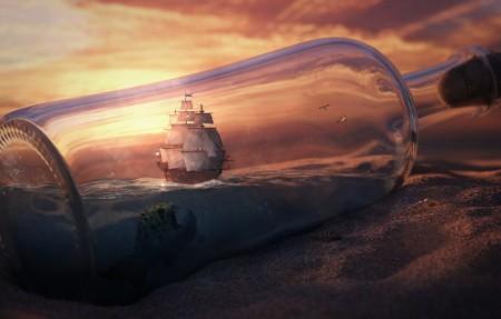沙漠 瓶子 船 艺术创意设计4k壁纸极品壁纸推荐