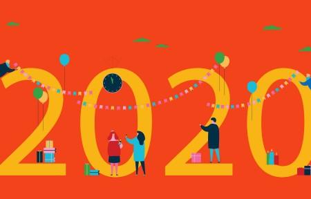 创意2020年新年快乐礼物5120x1440双屏壁纸极品游戏桌面精选