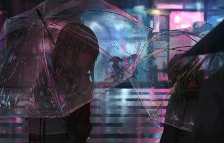 雨天 城市夜景 女子 雨伞 4k高清动漫壁纸百变桌面精选