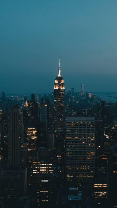夜晚城市高楼大厦灯光4K高清手机壁纸精选