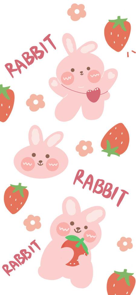可爱的兔子和草莓极品游戏桌面精选4K手机壁纸