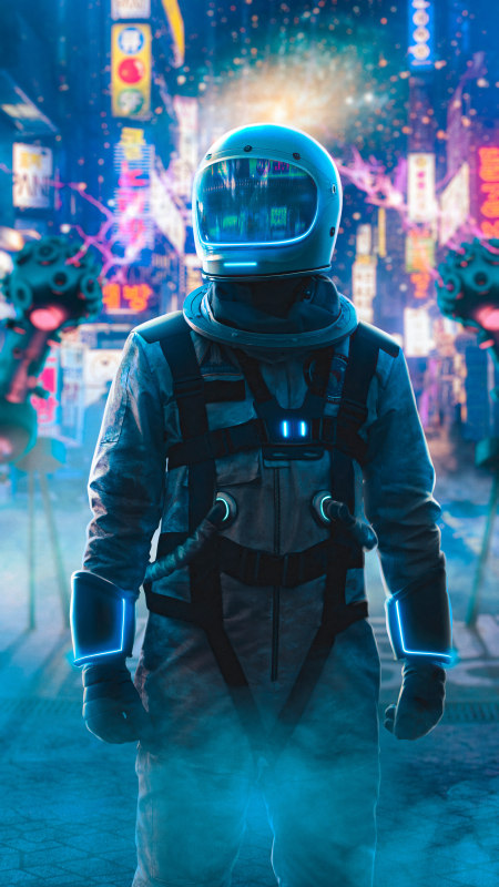 霓虹城的宇航员极品游戏桌面精选4K手机壁纸