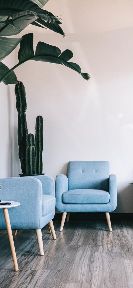 沙发椅和绿色植物4K高清手机壁纸精选
