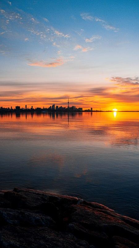海滨城市日落风景极品游戏桌面精选4K手机壁纸