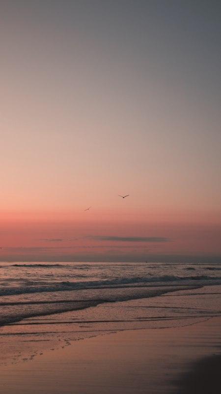 夕阳中的海滩4K高清手机壁纸精选