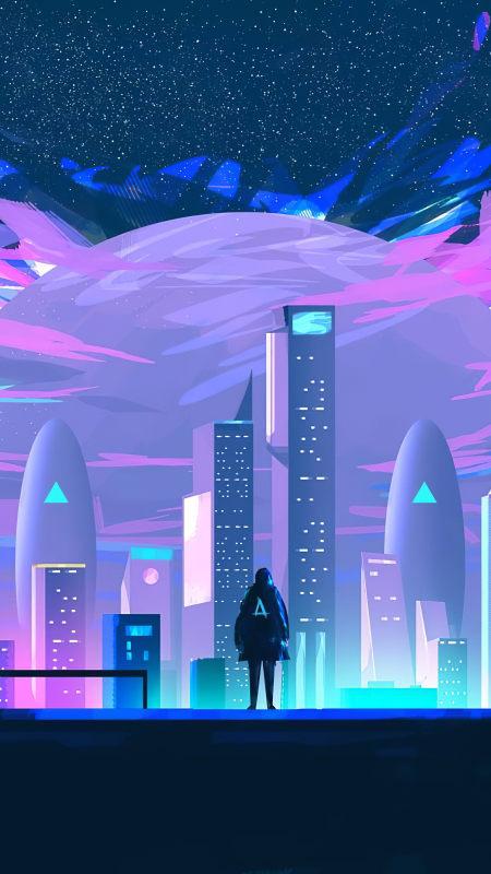站在城市中的人物插画极品游戏桌面精选4K手机壁纸