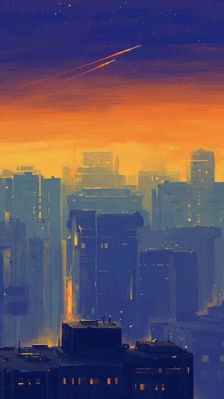 傍晚的城市插画极品游戏桌面精选4K手机壁纸