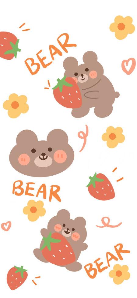 可爱的小熊和草莓极品游戏桌面精选4K手机壁纸