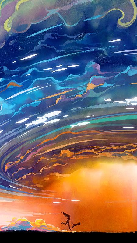 在暴风雨中奔跑插画艺术极品游戏桌面精选4K手机壁纸