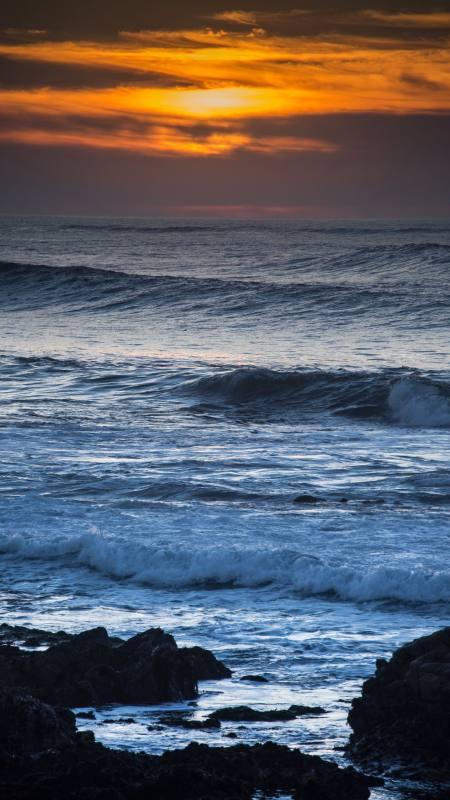 日落时的海面风浪4K高清手机壁纸精选