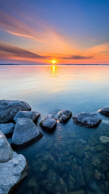 日落 海平面 石头4K高清手机壁纸精选