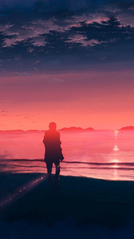 海边看日落的人极品游戏桌面精选4K手机壁纸