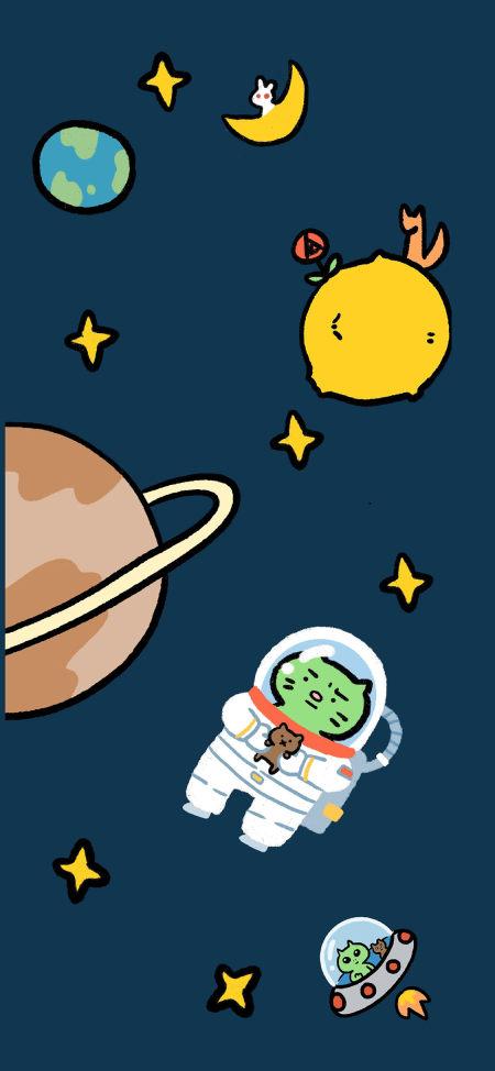 可爱的焦绿猫宇航员极品游戏桌面精选4K手机壁纸