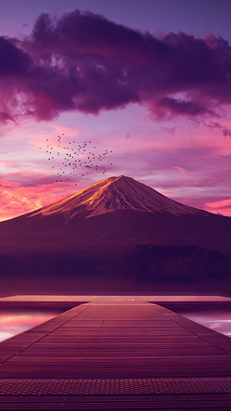 日落 高山 湖泊 云朵4K高清手机壁纸精选