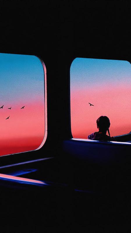 巴士上看风景的女孩极品游戏桌面精选4K手机壁纸