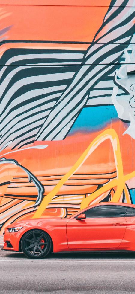 橙色福特野马汽车极品游戏桌面精选4K手机壁纸