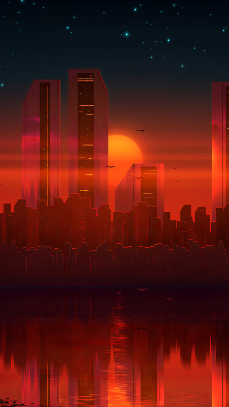 日落的城市建筑插画极品游戏桌面精选4K手机壁纸