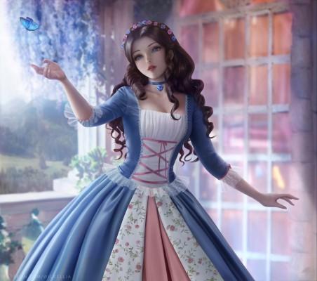 公主 长卷发 美丽的裙子 蝴蝶 唯美4k动漫壁纸百变桌面精选