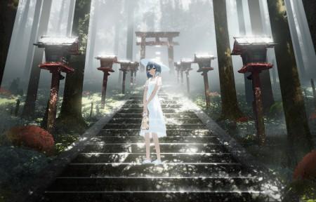 穿白色裙子女孩 台阶 夏天的森林风景3440x1440动漫壁纸高端桌面精品
