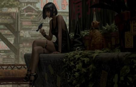 动漫女孩 高挑美女 坐着 郎腿 小鸟 猫 唯美艺术动漫4k壁纸百变桌面精选