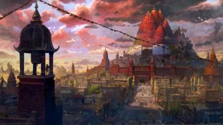 《鬼哭邦(Oninaki)》红色城堡 城镇 云 塔 4K高清壁纸高端桌面精选 3840x2160