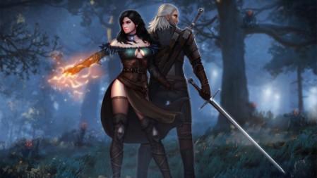《巫师3-The Witcher 3》树林 夜晚 黑卷发女孩 白发男人 背对防御 火 长剑 4K高清壁纸高端桌面精选 3840x2160