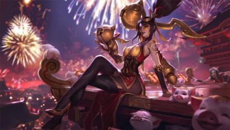 暗夜猎手 烈焰美人 薇恩 (1)  英雄联盟 壁纸百变桌面精选 7680x4320