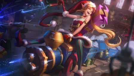暴走萝莉 圣诞捣蛋鬼 金克斯 英雄联盟 壁纸高端桌面精选 3840x2160