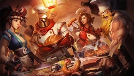 刺身之拳阿卡丽 面包之王潘森 烧烤女神蕾欧娜 牛扒狂战奥拉夫 英雄联盟 壁纸高端桌面精选 3840x2160